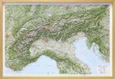 Raised relief Maps Alps