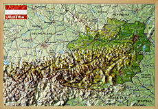 Raised relief map Austria