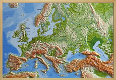 raised relief maps total europe