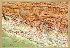 Raised relief map himalaya