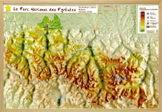 Raised relief Maps Pyrenees