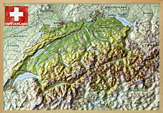 Raised Relief maps Switzerland