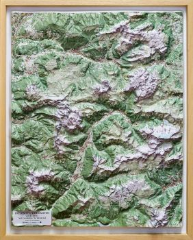 Raised relief map Dolomites