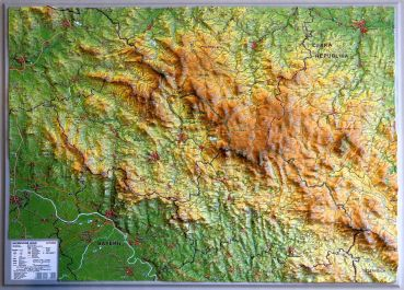 Raised relief map Bavarian Forest