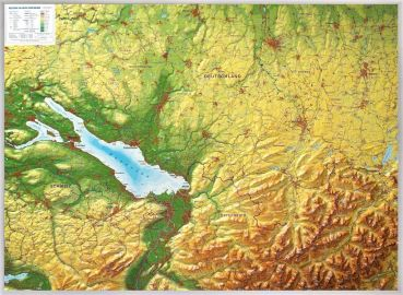 Raised relief map of  Lake of Constance and Allgäu