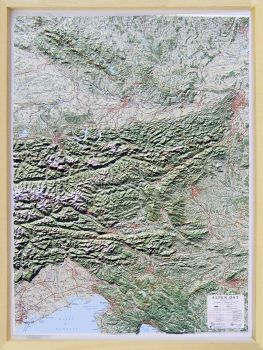 Raised relief map Alps East 1:500.000