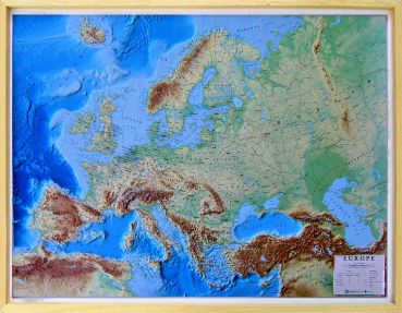 Raised Relief Map Europe