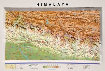 Raised relief map Himalayas