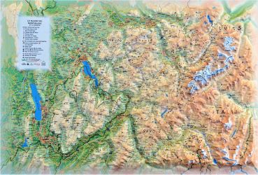 Raised relief map Mont Blanc and Annecy, small
