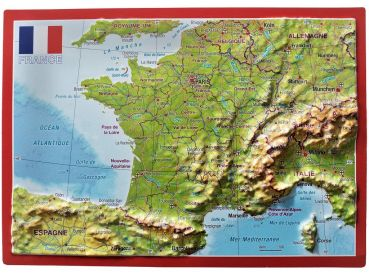 Raised relief map France postcard
