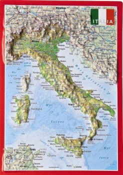 Raised relief map as postcard of Italy