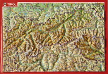 Raised relief map as postcard Tirol/Tyrol
