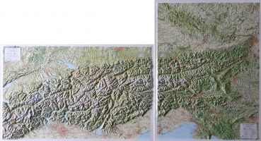 Raised relief maps The Alps 1:500.000, Central and East