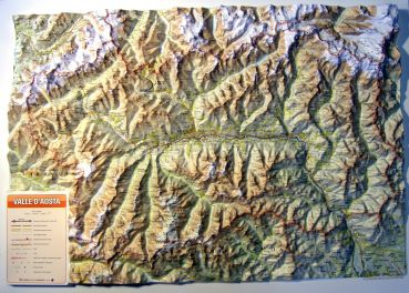 Raised relief map of Aosta Valley