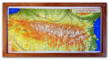 Raised Relief Map Pyrenees