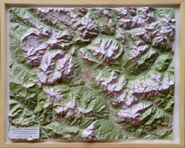 Raised relief map Dolomites Cortina