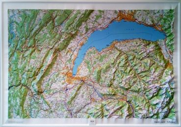 Raised relief map Lake Geneva and Jura