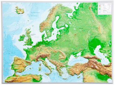raised relief map europe 1 8 000 000