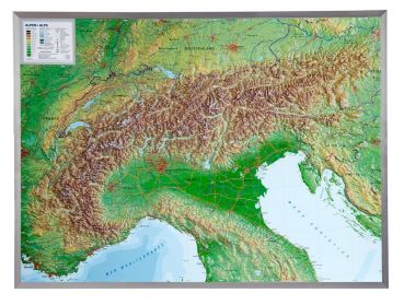 3D Raised relief map Alpine, 1:1.200.000