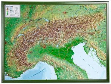 3D Raised relief map Alps, small