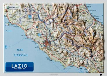 Raised relief map Lazio A4
