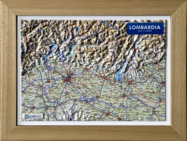 Raised relief map Lombardy A4