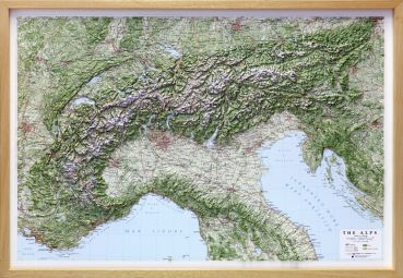 Raised relief map Alps, 1:1,000,000
