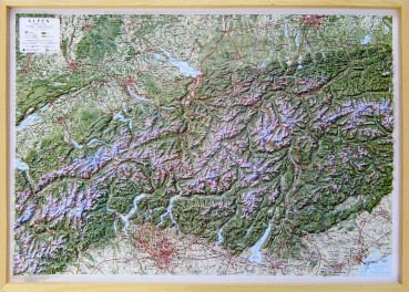 Raised relief map Alps 1:500.000