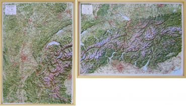 Raised relief maps The Alps 1:500.000, Central and West