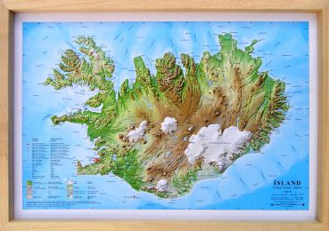 Raised relief map Iceland