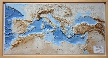 Raised relief map Mediterranean Sea