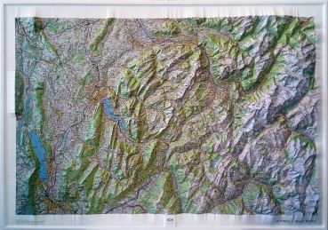 Raised relief map Mont Blanc and Annecy, big