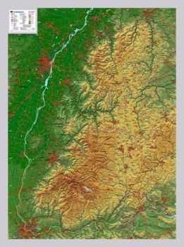 Raised relief map Map of Black Forest, 1:200,000