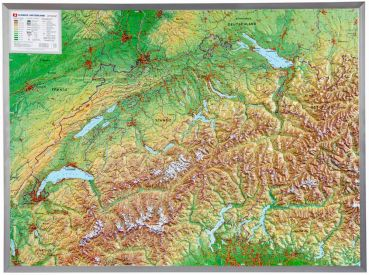 raised relief map Switzerland  1:500,000