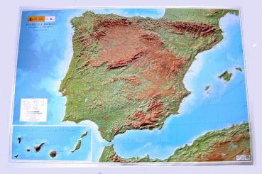 Relief Map of the Iberian Peninsula, large