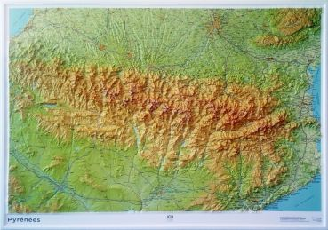 Mountains Of Spain Map.Raised Relief Maps Of Pyrenees Mountains Spain And France As 3d Map
