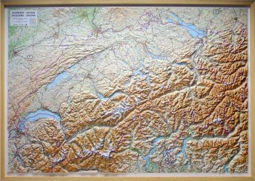 Raised relief map Switzerland 1:300.000