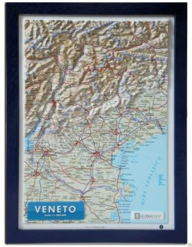 Raised relief map Veneto A4