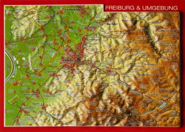 Relief postcard Freiburg and surroundings