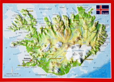 Raised relief map postcard Iceland