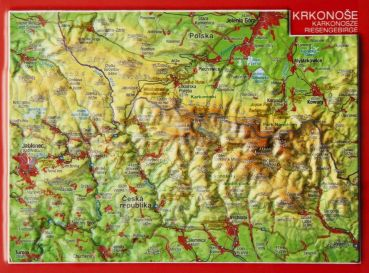 Raised Relief map as postcard of  Riesengebirge