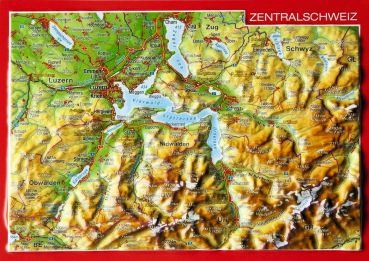 Relief postcard Central Switzerland