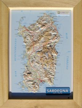 Raised relief map Sardinia A4