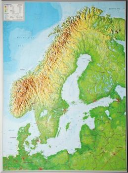 Raised relief map Scandinavia