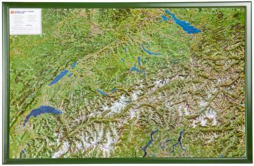 Raised relief map Switzerland aerial 1:500.000