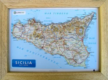 Raised relief map Sicily A4