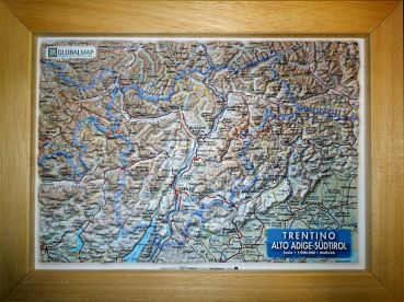 Relief Map Trentino and Southern Tirol A4