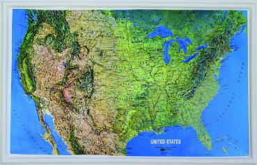 3D Raised relief map of USA