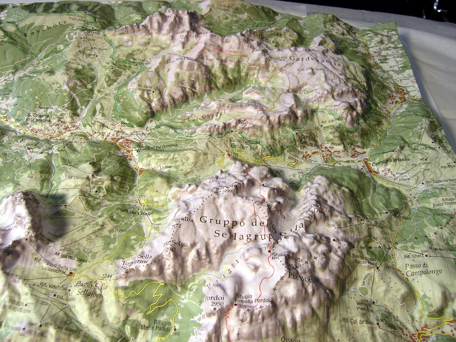 Raised relief map Dolomites / Italy as 3d map on