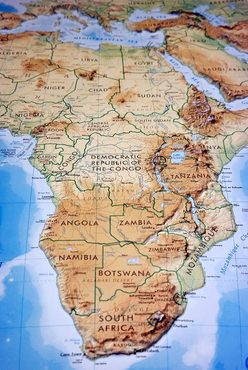 Map Of Africa 3d.Raised Relief Map Africa As 3d Map
